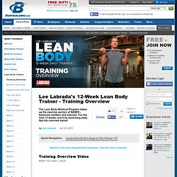 Lee Labrada's 12 Week Lean Body Trainer - Training Overview