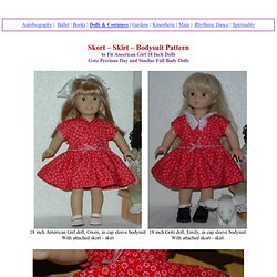 Skort - Skirt - Bodysuit Pattern to Fit AG & 18 Inch Dolls