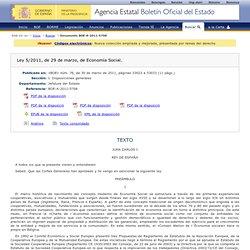 BOE- Ley 5/2011, de 29 de marzo, de Economía Social.