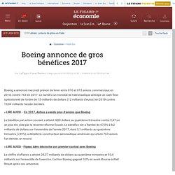 Boeing annonce de gros bénéfices 2017
