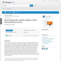 Emory Bogardus and the Origins of the Social Distance Scale