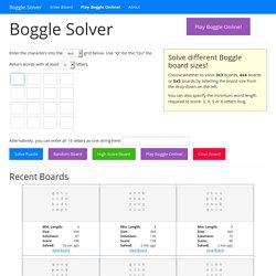 Boggle Solver: Word Finder and Solver