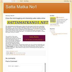 Satta Matka No1: Enjoy the mind boggling and interesting satta matka online