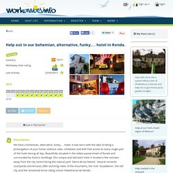 Help out in our bohemian, alternative, funky,… hotel in Ronda.