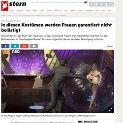 Jan Böhmermann zeigt Kostüme, in denen Frauen nicht belästigt werden