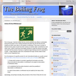 The Boiling Frog: Article 50 And Withdrawal