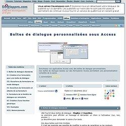Boîtes de dialogue personnalisées sous Access