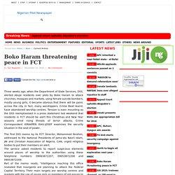 Boko Haram threatening peace in FCT