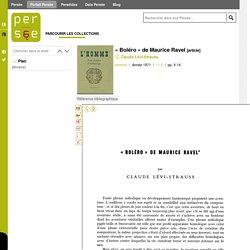 « Boléro » de Maurice Ravel par Claude Levi-Strauss - persee.fr
