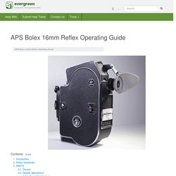 APS Bolex 16mm Reflex Operating Guide - Help Wiki