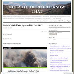 Bolivia's Wildfires Ignored By The BBC