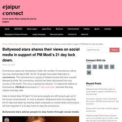 Bollywood stars shares their views on social media in support of PM Modi's 21 day lock down. - □jaipur □onnect