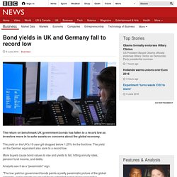 Bond yields in UK and Germany fall to record low