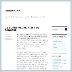 DE BONNE HEURE, C'EST LE BONHEUR – Sport, santé et forme avec le sport