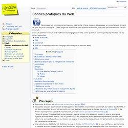 Bonnes pratiques programation Web