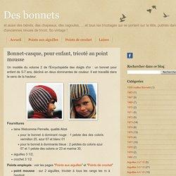 Bonnet-casque, pour enfant, tricoté au point mousse