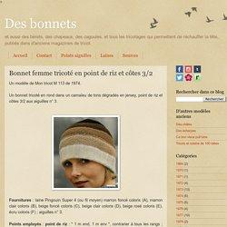 Bonnet femme tricoté en point de riz et côtes 3/2