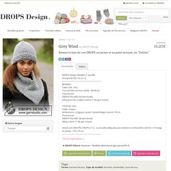 "Grey Wind / DROPS 173-25 - Bonnet et tour de cou DROPS en jersey et au point mousse, en ""Polaris"". - Free pattern by DROPS Design"