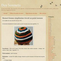 Bonnet femme simplissime tricoté au point mousse