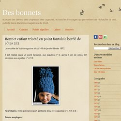 Bonnet enfant tricoté en point fantaisie bordé de côtes 2/2