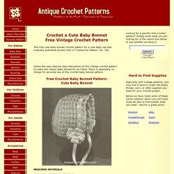 Cute Baby Bonnet - Free Vintage Crochet Pattern