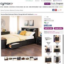 Prepac Sonoma Black Bookcase Platform Storage Bed with Headboard - BBX-XX00