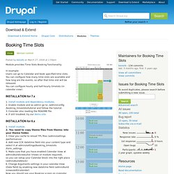 time slot booking drupal