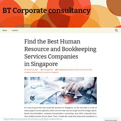 Find the Best Human Resource and Bookkeeping Services Companies in Singapore