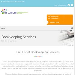 Full List Of Bookkeeping Services Melbourne