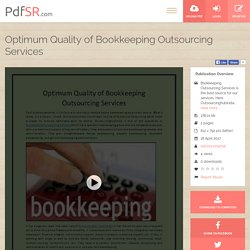 Optimum Quality of Bookkeeping Outsourcing Services