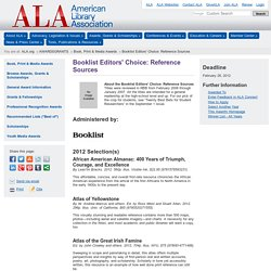 Booklist Editors' Choice: Reference Sources