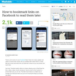 How to bookmark links on Facebook to read them later