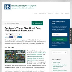 Bookmark These Five Great Deep Web Research Resources - The Helen Brown Group