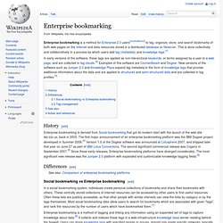 Enterprise bookmarking