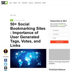 50+ Social Bookmarking Sites : Importance of User Generated Tags, Votes and Links