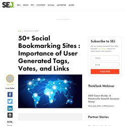 125 Social Bookmarking Sites : Importance of User Generated Tags, Votes and Links