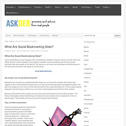 What Are Social Bookmarking Sites? Websites Like Delicious.com