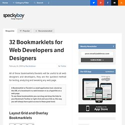 32 Indispensable Bookmarklets for Web Developers and Designers