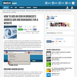 How to add an icon in browser's address bar and bookmarks for a website / HTML