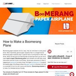 How to make a boomerang plane design!