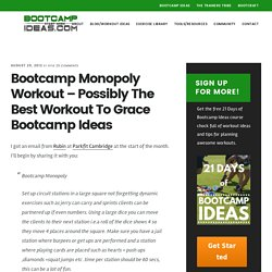 Bootcamp Monopoly Workout – Possibly The Best Workout To Grace Bootcamp Ideas
