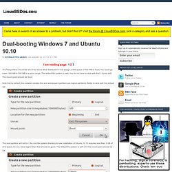Dual-booting Windows 7 and Ubuntu 10.10