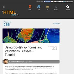 Using Bootstrap Forms and Validations Classes - Tutorial
