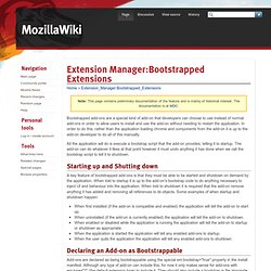 Extension Manager:Bootstrapped Extensions