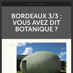 Bordeaux 3/3 : Vous avez dit botanique ? -
