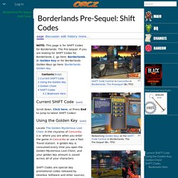 Borderlands Pre-Sequel: Shift Codes