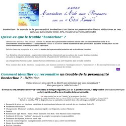 Test Borderline, trouble de la personnalite borderline, etat limite, definition, une souffrance