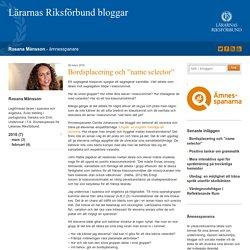 """Bordsplacering och """"name selector"""" - Rosana Månsson"""