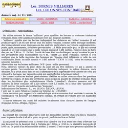 Bornes Milliaires : généralités