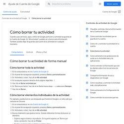 Cómo borrar tu actividad - Computadora - Ayuda de Cuenta de Google